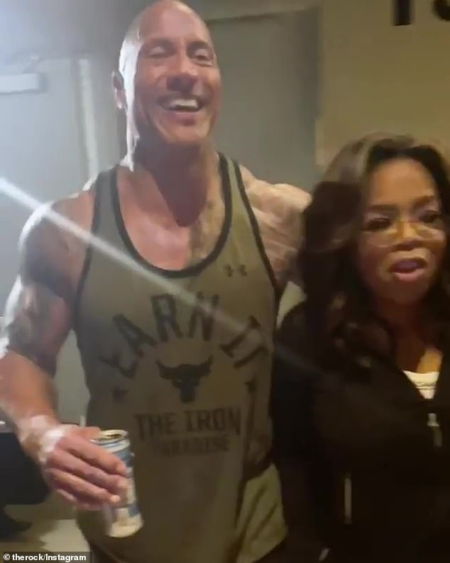 Mum's the word: The two were tight-lipped about why they decided to work up a sweat together, though Weight Watchers and The Rock's Athleticon event were tagged in the post