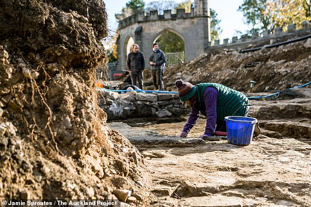 The chapel was built in the early 1300s for Bishop Antony Bek, who was the Prince-Bishop of Durham from around 1284–1310 and was reportedly both a great warrior and also one of the most influential men in Europe of the time. Pictured, a volunteer works on the chapel floor