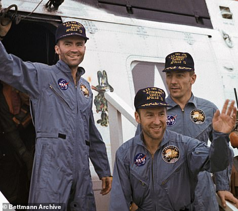 The crew, which included Fred Haise( left), Jim Lovell (middle) and Jack Swigert (right), had to abandon the main command module and use the moon-landing Lunar module as a lifeboat to coast back to Earth.