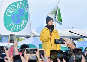 Swedish activist Greta Thunberg leads a Fridays For Future rally in Turin, December 2019