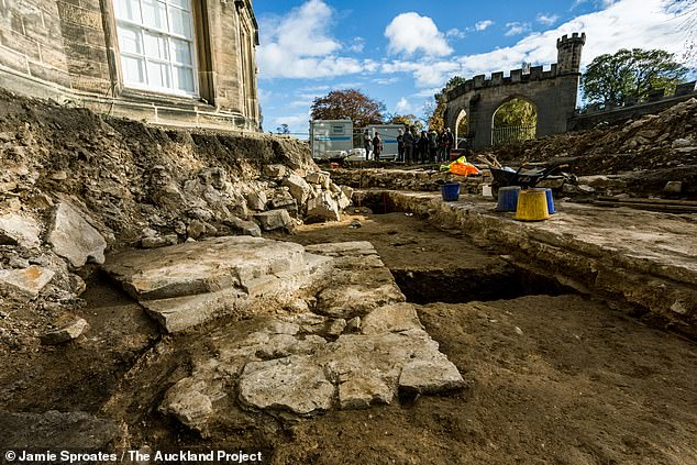 Part of Auckland Castle, the remains of the long lost place of worship — Bek's Chapel — were uncovered with the help of staff and students from Durham University. Pictured, the chapel dig. A foundation for a column base can be seen in the foreground, with the foundations for the chapel's south wall visible to the right