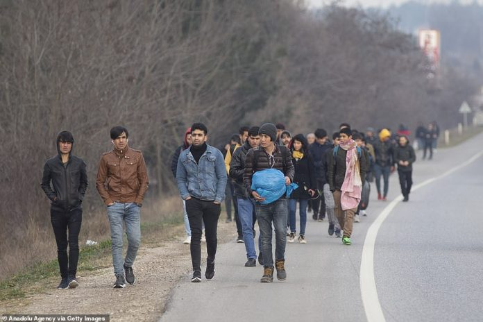 Groups of migrants were pictured making their way through Edime, in western Turkey, towards the borders with Bulgaria and Greece early on Friday