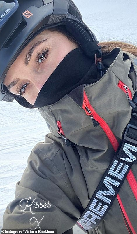 Sports chic: In one image, fashion designer Victoria (L) showcased a hint of her fresh-faced complexion as she kept warm in full-on sports gear