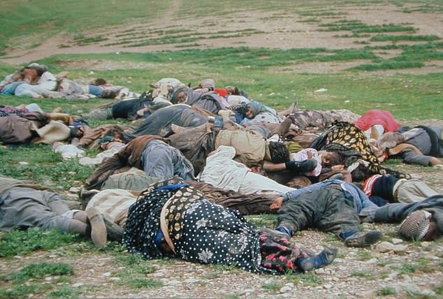 Iraqi Kurd victims are pictured after an Iraqi chemical gas attack four days earlier, in the Iraqi Kurd town of Halabja near the Iran-Iraq border on March 17, 1988