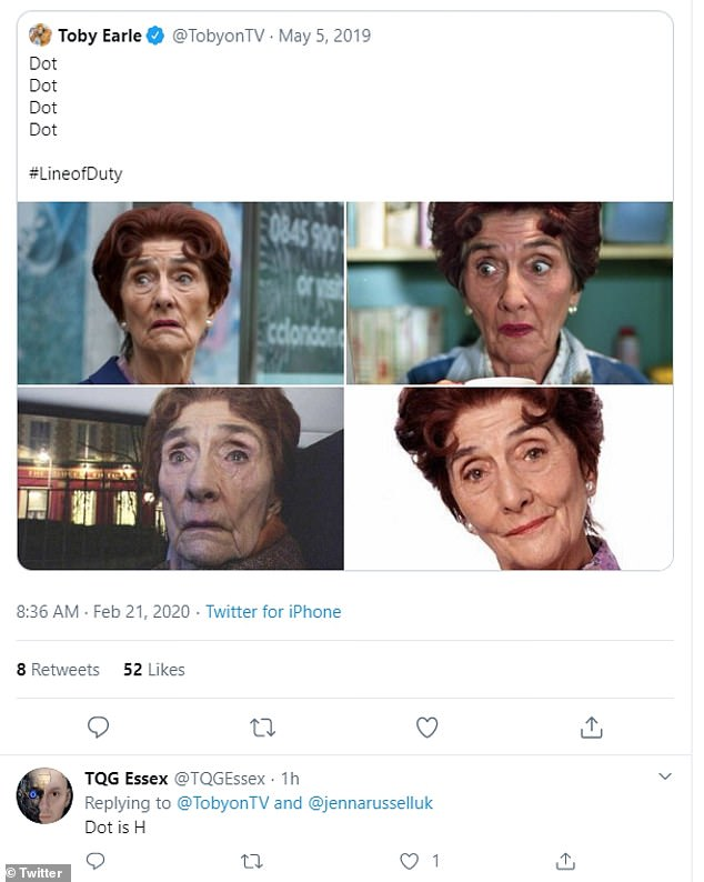 Hmm: Rumours began swirling on Twitter that Dot, real name June Brown, was AC-12 supervillain H in a hilarious social media exchange