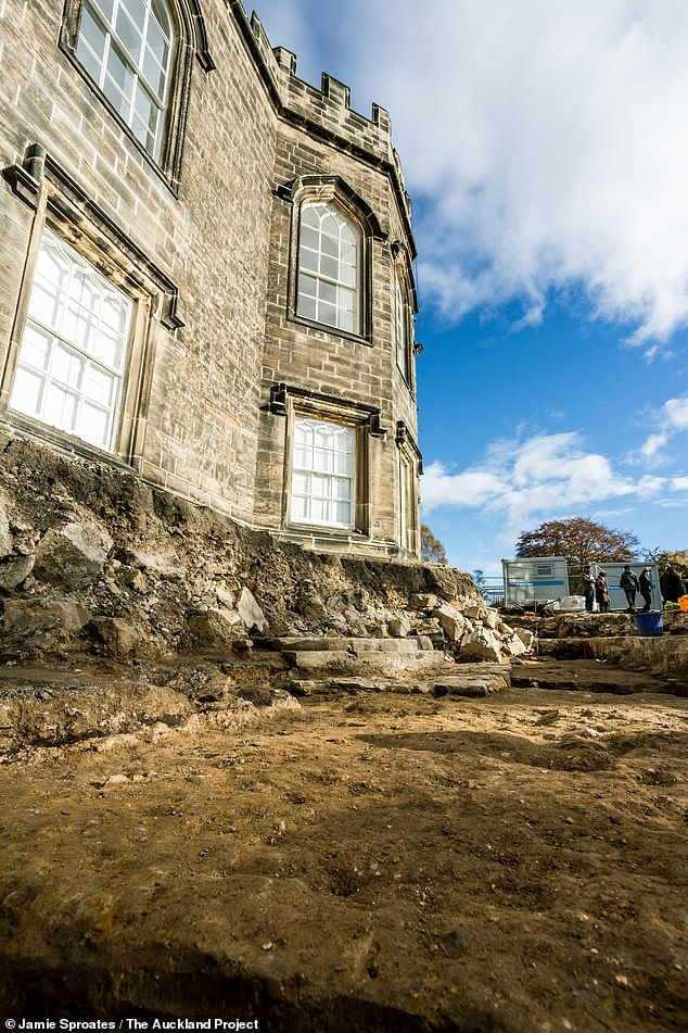 An exhibition titled 'Inside Story: Conserving Auckland Castle' will open in the castle's Bishop Trevor Gallery on March 4 and run until September 6. Pictured, the foundation of a column base can be seen here surrounded by rubble from the demolished chapel