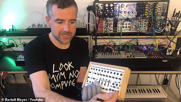After finding the electrode voltages of his prosthetic were too week, he used a Koma Electronic Field Kit (pictured), an analog audio workstation normally used for field recordings, which can amplify the signals.