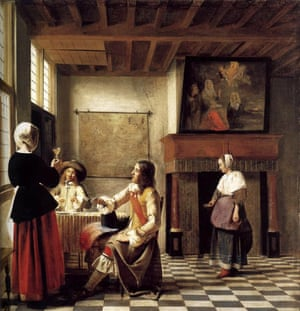 A Woman Drinking with Two Men by Pieter de Hooch