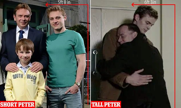 Throwback: Ben Hardy - who played Peter from 2013 to 2015 - is only 5ft 8 inches tall, while newcomer Dayle is a towering 6ft 3 inches (right)