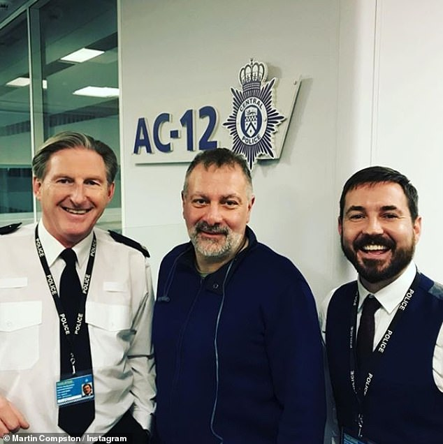 AC-you soon!Martin Compston looked thrilled to be back at AC-12 as he posed for a snap with co-star Adrian Dunbar and show creator Jed Mercurio earlier this week