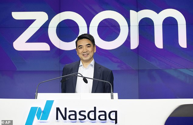 Hackers are turning their attention to Zoom after a spate of publicly disclosed flaws in its security. Pictured,Zoom CEO Eric Yuan, seen here at the firm's IPO in New York last April