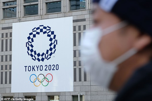 Pictured: A man wearing a mask passes the logo of the Tokyo 2020 Olympic Games displayed on the Tokyo Metropolitan Government building. The Games must be rescheduled to a date beyond 2020 but not later than summer 2021, the International Olympic Committee said in a statement