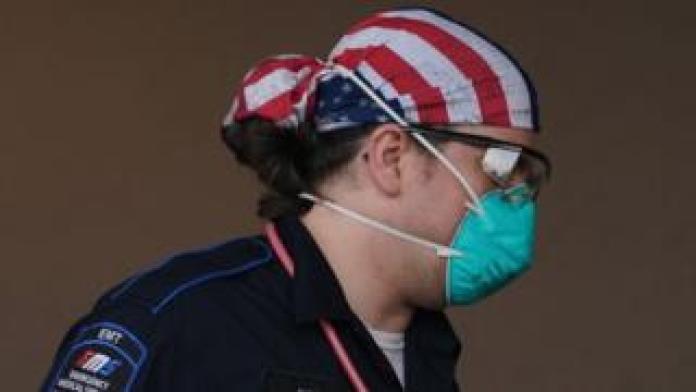 A medical worker in Brooklyn