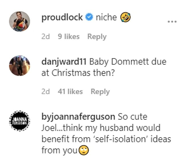 Amused: The TV personality's followers were quick to comment on the post, with many people joking there would be a baby due by Christmas
