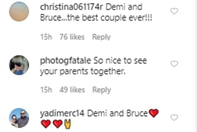 Into it: Some people, including Bruce's wife Emma, loved the snap and thought it was 'family goals'