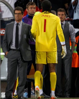 Fabio Capello, Rob Green, David James and David Beckham at the end of England's second round World Cup defeat against Germany in Bloemfontein.