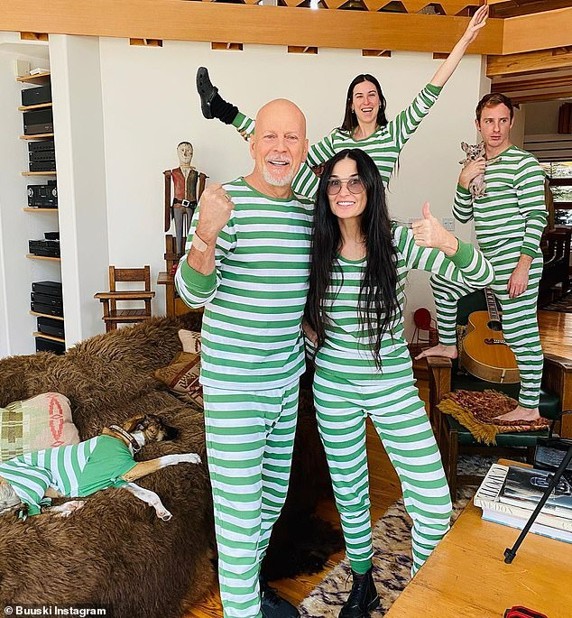 What about social distancing? Demi and Bruce wore matching pajamas to quarantine with their adult children and partners