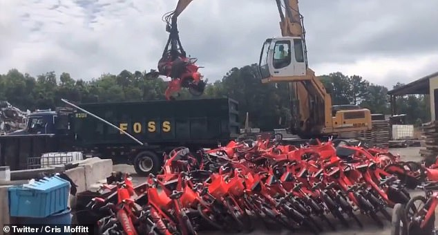 An estimated 18 truck trailers filled with old e-bikes and scooters from Jump were delivered to a North Carolina recycling center for processing