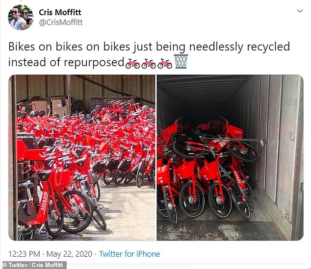 The deliveries were first spotted by Twitter user Cris Moffitt, who photographed the huge volume of bikes being dropped off at the facility, where they will have their electronics stripped and then be sent on to an auto chipper to further break down their metal parts