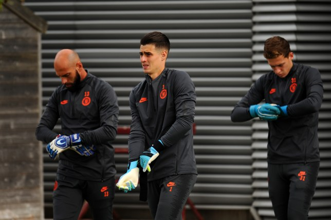 Willy Caballero and Kepa Arrizabalaga in training ahead of Chelsea's FA cup clash with Arsenal