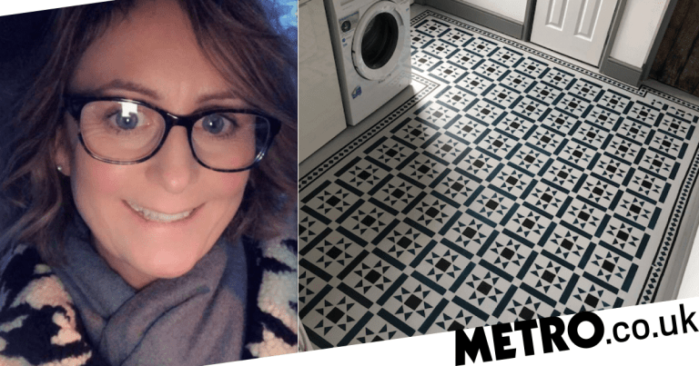 Woman transforms tired floor tiles for less than £50 using paint and stencils