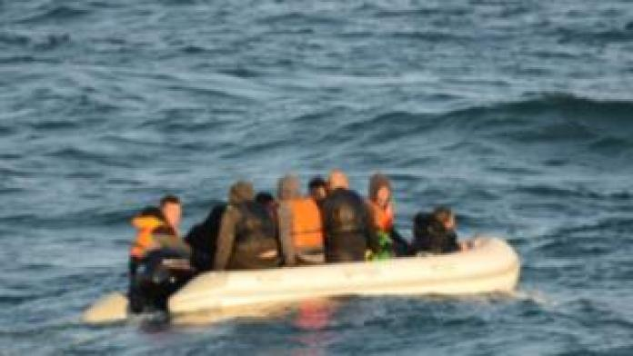 Migrants on a small dinghy