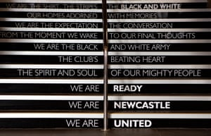 Words on the staircase leading to the players' and officials' entrance at St James' Park.