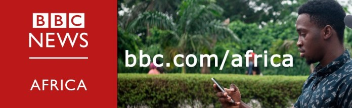 A composite image showing the BBC Africa logo and a man reading on his smartphone.