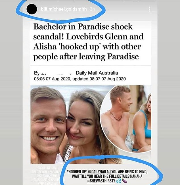 "Shameful! Bill shared Daily Mail's story about Alisha and Glenn's rumoured split to Instagram story and wrote: '""Hooked up"" @DailyMailAU you are being too kind. Wait till you hear the full details hahaha'"