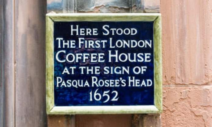 No mention of the slave trade … the plaque on the site of the first London Coffee House.