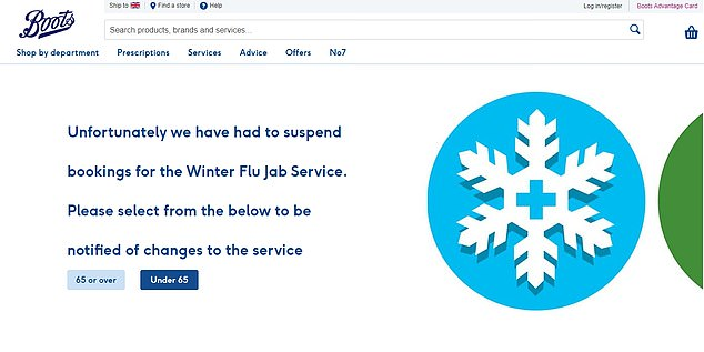 Boots has suspended its booking system for flu jabs amid an 'unprecedented' demand for vaccinations this winter