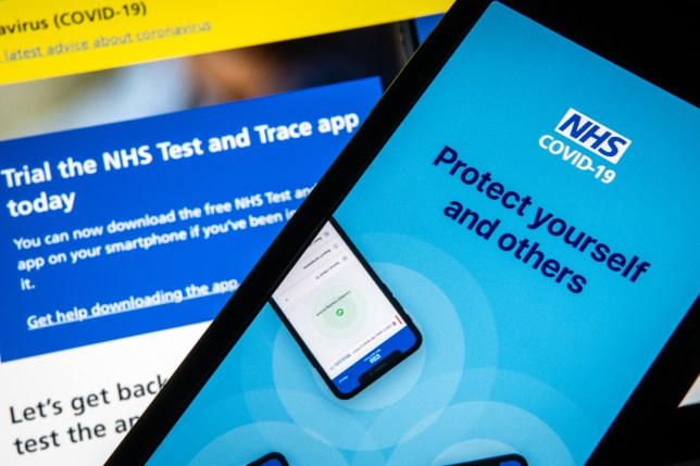The official NHS Covid-19 'Test and Trace' contact tracing app is seen on a screen (Photo Illustration by Leon Neal/Getty Images)