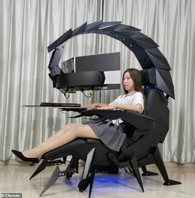 It may look and move like a scorpion, but this $3,999 chair is the ultimate gaming or work station. A US firm unveiled the Scorpion Computer Cockpit that is powered with a push of a button, allowing the user to transform the design to fit their needs
