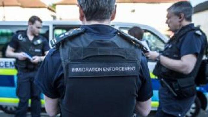 Immigration Enforcement officers before a raid in London