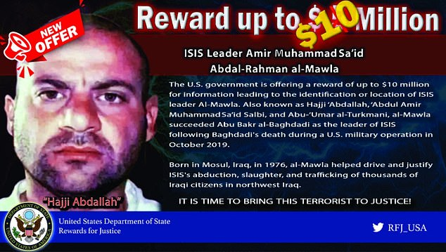ISIS leaderAmir Muhammad Sa'id Abdal-Rahman al-Mawla, pictured in a US reward poster, ratted out dozens of fellow jihadists after being captured in 2008