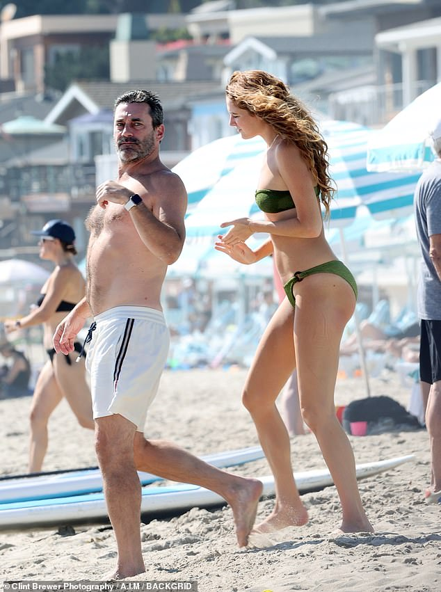 Sun day: Last month, his girlfriend Anna Osceola appeared to have a foot injury as she was seen with him wearing a boot and using crutches. And weeks later, Jon Hamm, 49, and Anna, 32, were seen enjoying a romantic beach day in Santa Barbara, California on Saturday - - with no crutches or boot in sight