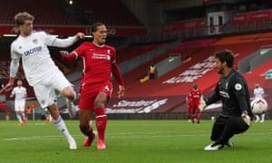 Patrick Bamford slots the ball home for Leeds' secibd equaliser.