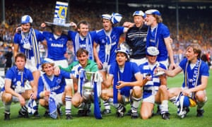 Southall with Everton teammates including Peter Reid, Alan Harper and Andy Gray after Everton defeated Watford 2-0 in the 1984 FA Cup final.