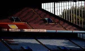The empty Holte End at Villa Park.