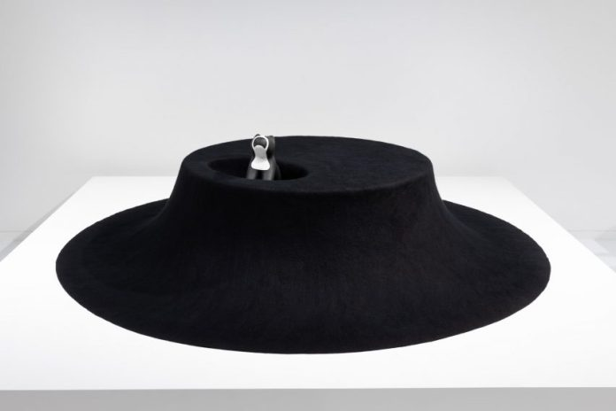 I See You black felt table by Asif Khan for Archtecture for Dogs at Japan House London