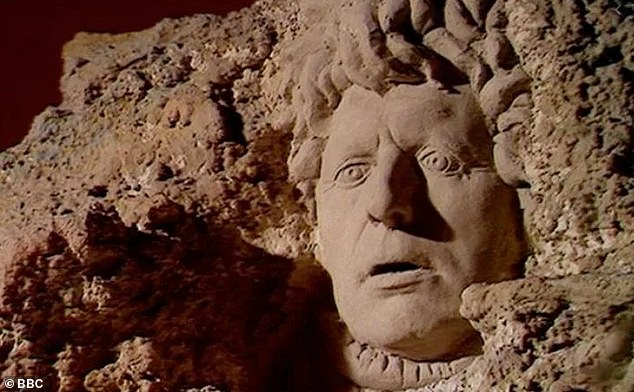 The naming of the fossil is not the only time Mr Baker has been immortalised in stone — the 1977 Doctor Who serial 'The Face of Evil' depicted his likeness carved in rock on the side of a mountainside, as pictured, near the village of the Sevateem