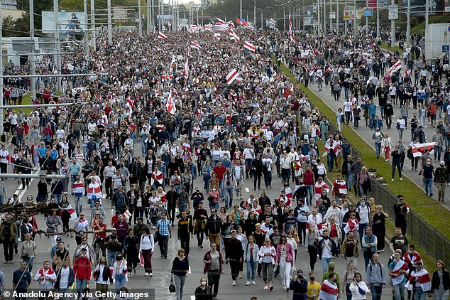 Belarusian opposition supporters take part in a rally against presidential election results, in central Minsk, Belarus on September 13