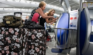 checking in baggage at Heathrow