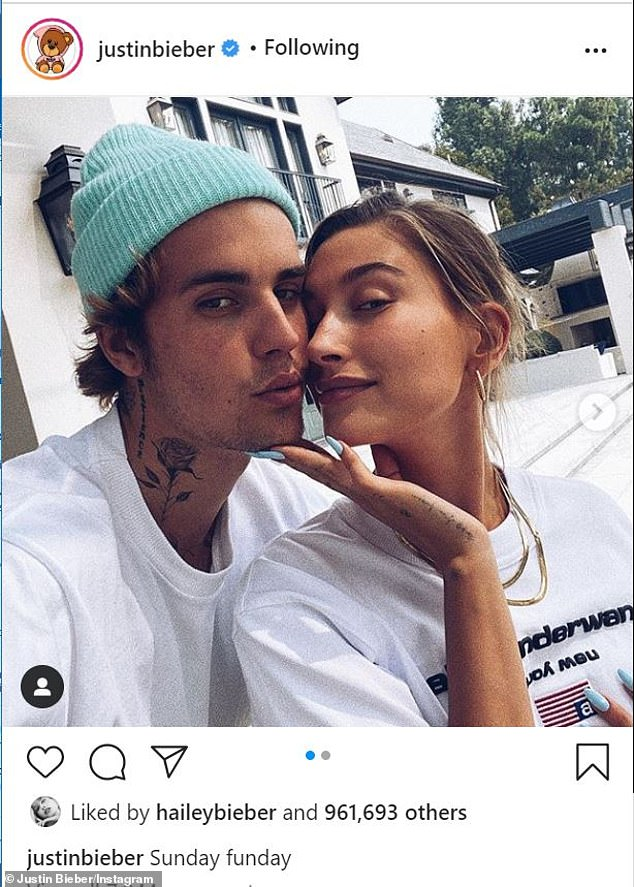 Her husband:This comes just after Hailey and Justin marked their second wedding anniversary with a low-key picnic. The loved-up pair were seen grabbing snacks from Bay Cities Deli in Santa Monica, California, on Sunday before heading to a park to enjoy the sunshine