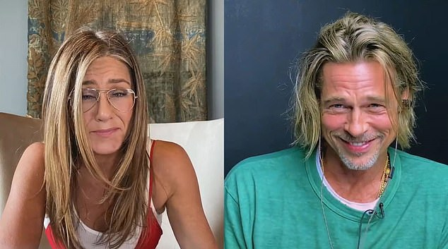Friends forever: Fans were delighted to see the Pitt-Aniston reunion during a star-studded virtual table read for Fast Times at Ridgemont High last week