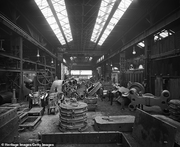 Stainless steel may have first been created in ancient Persia in the 11th century — 1,000 years before it was independently forged in Sheffield, the steel city. Pictured, a steel works in Sheffield in 1913, the same yearHarry Brearley, a metallurgist, created a steel alloy with 12.8 per cent chromium - this was previously believed to be the first known batch of stainless steel