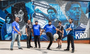 Members of the Blues 4 All fans group of Birmingham City FC at the clubs St. Andrew's Stadium in Birmingham. (l-r) Colin Nelson, Bik Singh, his dad Mick Singh, Jeevan Bhopal, Mathew Roberts and Aniel Janagal