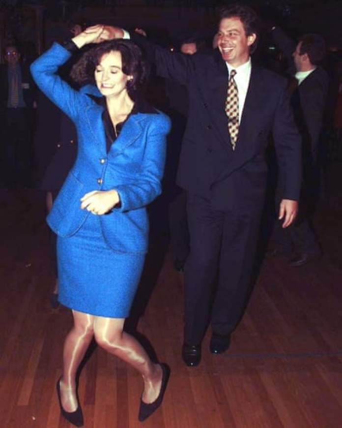 Tony Blair hits the dance floor with wife Cherie Booth at the Labour party conference in Blackpool in 1996.