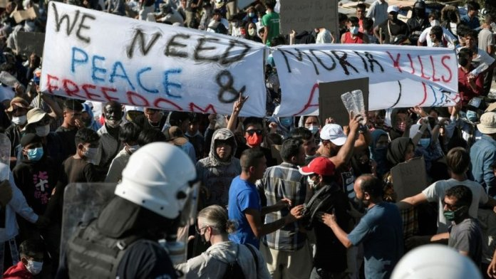 Migrant protest on Lesbos, 11 Sep 20