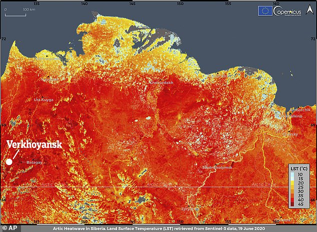 A satellite image showing a record-breaking temperature of 38 degrees Celsius (100.4 degrees Fahrenheit) registered in the Arctic town of Verkhoyansk on June 19